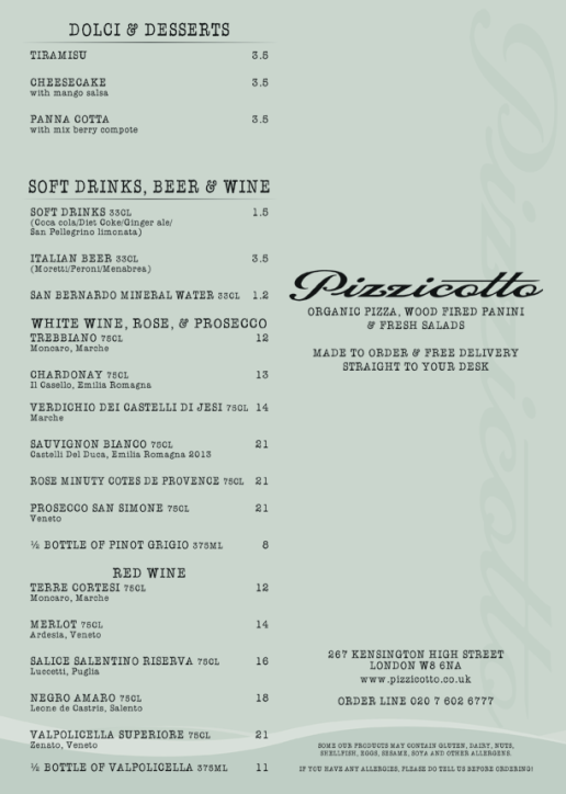 Pizzicotto Catering Menu Design